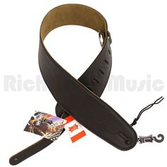 Levys M4GF-BLK 3.5 Inch Garment Leather Guitar Strap - Black - Rich Tone Music