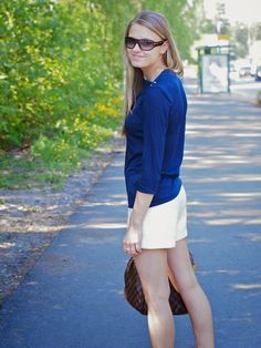 Summer outfit with bouclé-shorts
