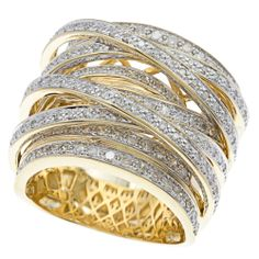 Beverly Hills Charm 10k Gold 1 1/2ct TDW Diamond Crossover Ring (H-I, I1-I2) | Overstock.com Shopping - Top Rated Beverly Hills Charm Diamon...