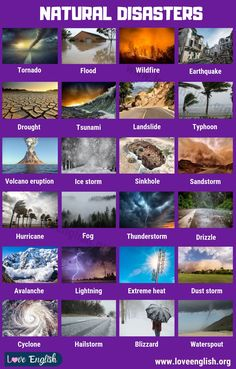 This useful lesson shows a list of vocabulary words that are used when talking about natural disasters. Each word has an example sentence t English Writing Skills, Learn English Grammar, English Vocabulary Words, Learn English Words, English Phrases, English Language Learning, English Lessons, Natural Disasters For Kids, General Knowledge Book