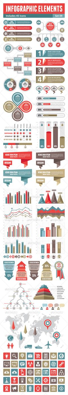 Infographic Elements  Set 09 — Vector EPS #optimization #creative infogaphics • Available here → https://graphicriver.net/item/infographic-elements-set-09/3920819?ref=pxcr