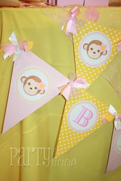 Girly Monkey 1st Bday | CatchMyParty.com