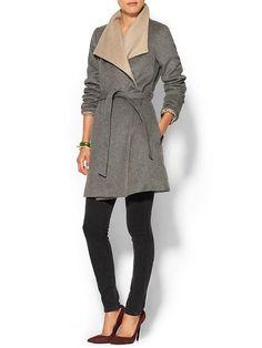 Pim + Larkin Womens Double Layer Wrap Coat Size L - Heather grey/camel by: Pim + Larkin @Piperlime