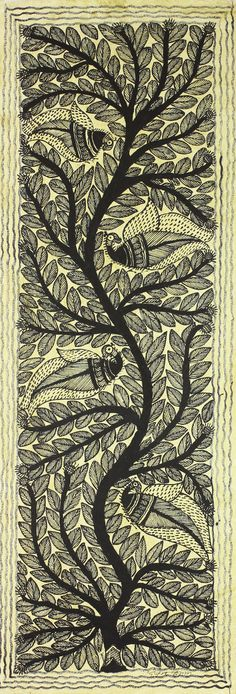 Tree of Life Indian Traditional Painting on Handmade Paper - Life's Art | NOVICA