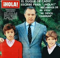 Luis Alfonso, right, on the cover of the Spanish edition of Hello! magazine with is father, Infante Alfonso, Duke of Anjou and Cadiz, and his older brother, Don Francisco, who was killed at age 12 in a car wreck in 1984.