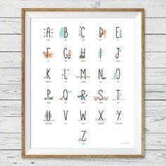 Woodland Alphabet Poster Wall Art
