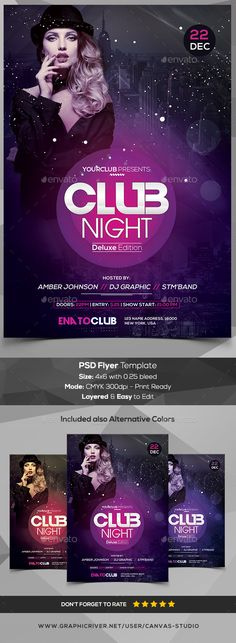 Club Night  PSD Flyer Template — Photoshop PSD #party flyer #flyer • Download ➝ https://graphicriver.net/item/club-night-psd-flyer-template/18948509?ref=pxcr
