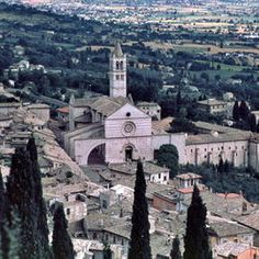 Basilica of St. Clare, Assisi, Italy. Its flying buttresses and rose window are clearly seen in this picture from UNESCO.
