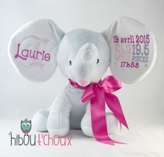 Personalized Elephant www.hiboutchoux.com Elephants, Teddy Bear, Baking, Toys, Children, Animals, Activity Toys, Young Children, Patisserie