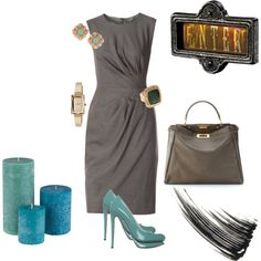 Sophisticated.....Gray dress.  Turquoise accessories are a great addition.