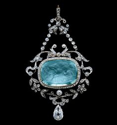 Aquamarine Cameo & Diamond Pendant  #Edwardian #Jewelry