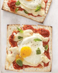 Feed an Italian craving by swapping matzo for pizza crust and lasagna noodles. (P.S. Eggs are neutral -- so feel free to pile on the cheese!)