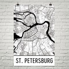 St. Petersburg Map Art Print, St. Petersburg Russia Art Poster, St. Petersburg Wall Art, Gift, Print, Birthday, Map of St. Petersburg, Art