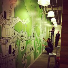 HootSuite wall mural  http://blog.hootsuite.com/art-from-the-nest-part-6/