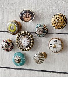 High Quality Retro Holiday Flower Door Knob In Turquoise Blue, Round Decorative Knob  With Floral Print, Pretty Ceramic Cupboard Door Handle Or Draw Pull |  Pinterest ...