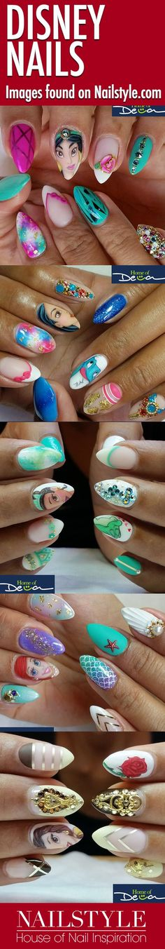 Disney Princess nails by Home of Deva. Perfect for a trip to Disneyland! Jasmine, Pocahontas, Tiana, Ariel, Belle. For other Disney nail art go visit Home of Deva's profile on Nailstyle.
