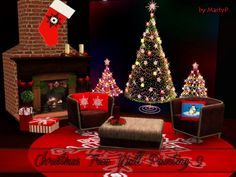 BTB Sims - Christmas Tree wall painting 2 by MartyP - Sims 3 Downloads CC Caboodle