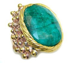 $69.85 Stunning!+AAA+Green+Emerald,+Gold+Plated,+Rose+Gold+Plated+Sterling+Silver+ring+s.+9+1/2 at www.SilverRushStyle.com #ring #handmade #jewelry #silver #emerald