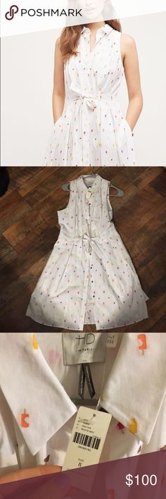 Anthropologie HD in Paris NWT Paleta Shirtdress Cutest crisp cotton summer dress from Anthropologie! Embroidered popsicles are all over this button down shirt dress with tie waist detail. It's never been worn and in perfect condition.   18in armpit to armpit A little over 37 inches from shoulder to back hem  So sad to let this one go but it's too tight in the bust for me 😑 Anthropologie Dresses Midi
