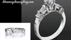 Tiffany Style Engagement Ring With BloomingBeautyRing.com  (213) 222-8868 - Tapered Baguette and Small Round Side diamonds - #EngagementRing