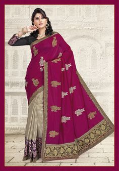 Magenta and Beige Art Silk Saree with Blouse