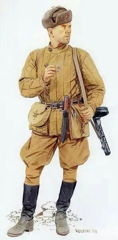 The Soviet infantryman with a submachine gun PPSh 1943 - pin by Paolo Marzioli Military Art, Military History, Ww2 Uniforms, Military Uniforms, 1 Clipart, Military Drawings, Army Infantry, Soviet Army, Army Uniform