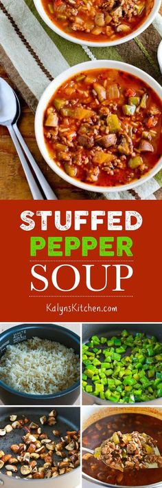 Stuffed Pepper Soup is delightfully red and green for a holiday soup and this deliciously healthy soup is also gluten-free. [KalynsKitchen.com]
