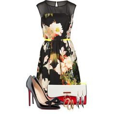 Style It Dark Floral Prints! by florikaa on Polyvore featuring moda, Ted Baker, Christian Louboutin, Judith Jack and Isabel Marant