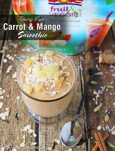 Don't have a cow! Try this Dairy-Free Carrot & Mango Smoothie, made with DOLE® Fruit & Veggie Blends Mango Carrot! Click to get the recipe at Runnin Srilankan.