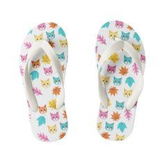 Cute Pastel Cartoon Cats and Leaves Pattern Kid's Flip Flops Cartoon Cats, Girls Flip Flops, Flipping, Keep It Cleaner, Pastel, Slip On, Leaves, Sandals, Cute