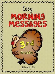 NOVEMBER - Easy Morning Messages - 3rd Grade #Teacher