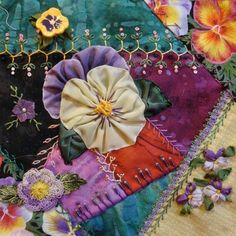 Crazy Quilt Stitches | crazy quilting lisa s work on cathy s pansy blk repinned from crazy ...