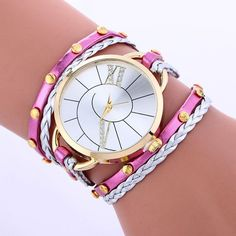 FUNIQUE Fashion Big Dial Leather Watches Women DIY Hand-woven Ladies Casual Dress Watch Women Bracelet Watches for Women Clock