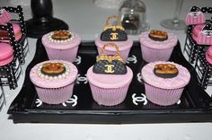 Gorgeous cupcakes at a Chanel birthday party!  See more party planning ideas at CatchMyParty.com!