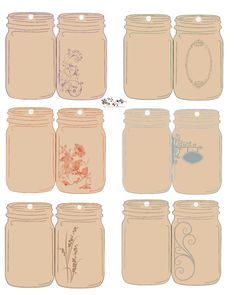 Printable planner, mason jar tags, mason jar crafts, wedding gift tags, t. Printable Labels, Printable Planner, Free Printables, Planner Diy, Mason Jars, Mason Jar Crafts, Jar Labels, Label Templates, Gift Tags