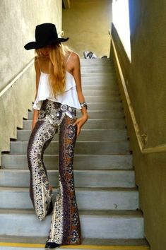 bohemian pants vintage style with awesome sparkle belt & white cammie tank & black floppy hat!
