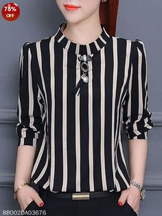 Vertical Striped Chiffon Blouse - Color: Black Khaki Size: S M L Xl Collar_&_neckline: Band Collar Material: Chiffon Occasion: Basic Date Pattern_type: Vertical Striped Season: Autumn Spring Style: Elegant Processing Time: Business Days Source by - Cheap Womens Tops, Casual Skirt Outfits, Women's Dresses, Ladies Dress Design, Chiffon Tops, Blouses For Women, Ladies Blouses, Fashion Outfits, Tops Online
