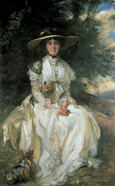 Lady Barber in a Landscape by James Jebusa Shannon (1862-1923)