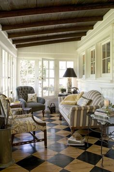 Great room.  Don't you just love the floor?  Back porch  Deborah Leamann Interiors