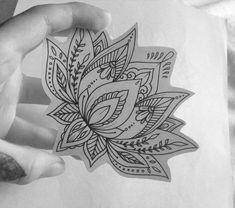 Lotus Flower Tattoo by Medusa Lou Tattoo Artist - medusa_lou . Lotus Flower Tattoo by Me Flower Mandala Tattoo, Dotwork Tattoo Mandala, Flower Tattoo Designs, Tattoo Flowers, Sternum Tattoo Lotus, Wrist Tattoo, Flower Tattoo On Side, Henna Mandala, Trendy Tattoos