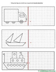 simetria para niños-2 Preschool Worksheets, Preschool Learning, Preschool Activities, Teaching, Drawing Lessons, Art Lessons, Math Logic Games, Visual Perceptual Activities, Graph Paper Art