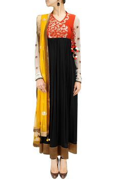 Orange and black embroidered anarkali set BY JOY MITRA. Shop now at: h