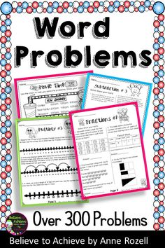 Word Problems can be tough for students! This resource provides 55 pages (over 300 word problems) that focus on addition, subtraction, multiplication, division, elapsed time, fractions, money and multi-step. The Table of Contents and answer keys are included! Great for morning work, homework, tutoring, assessment or math stations! Spelling Word Activities, Spelling Words, Multiplication, Fractions, Elapsed Time, Math Test, My Values, Math Stations, Morning Work