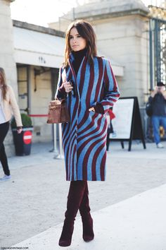 Like a burgundy and blue zebra. Only tons more chic. #MiroslavaDuma looking tops. THOSE BOOTS THOUGH !!!