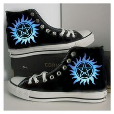supernatural/blue/custom/hand painted /canvas//converse/ gift/MEN /wom ❤ liked on Polyvore featuring men's fashion