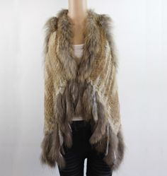 >> Click to Buy << GTC050 NEW STYLE WOMENS FASHION GENUINE/REAL KNITTED RABBIT FUR VEST TRIM GILETS WAISTCOAT WITH RACCOON COLLAR COAT OUTWEAR #Affiliate