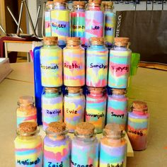 """After reading the """"BFG"""" we made our own """"dream jars"""" using salt and chalk.  I found these neat jars from the dollar store!"""