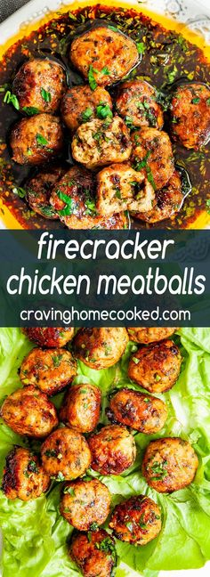 Firecracker Chicken Meatballs Firecracker Chicken Meatballs – a totally delicious and fun way to enjoy plain boring chicken meatballs. Bring them to life with this finger licking, smack-your-lips yummy firecracker sauce! Spicy Recipes, Asian Recipes, Appetizer Recipes, Dinner Recipes, Cooking Recipes, Healthy Recipes, Appetizers, Firecracker Sauce, Firecracker Chicken