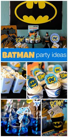 What a fun Batman boy birthday party with blue, black and yellow decorations, cupcakes and drinks!  See more party ideas at CatchMyParty.com!