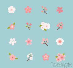 16 beautiful cherry blossom icon vector